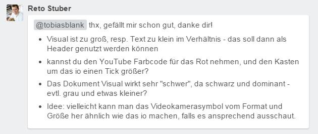 Verbesserungsvorschläge Logo Video Transcription